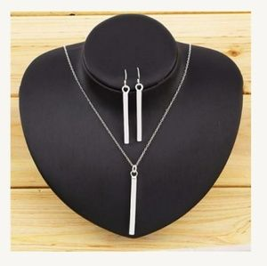 Silver Bar Necklace Rectangle Bar Earring Set of 2
